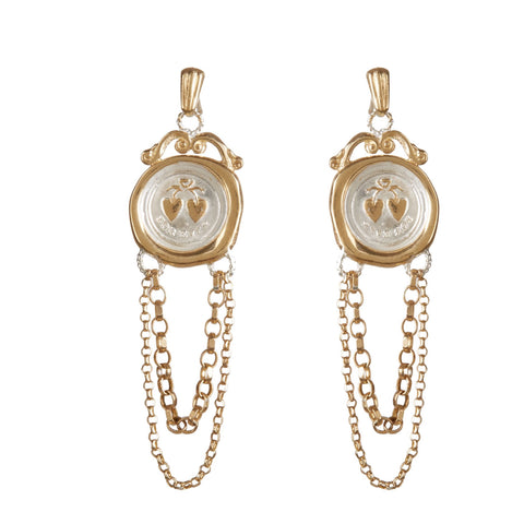 19th c. Seal Chain Earrings