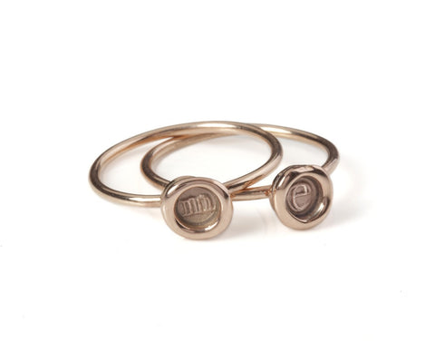 Petites 9ct Personalised (a-z/0-9) Stacking Rings