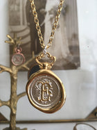 Jessica de Lotz JdL Jewellery Gold Plated Silver Large E Initial Wax Seal with 6 Diamonds