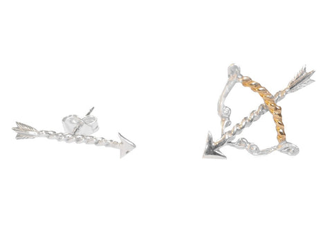 As Above, So Below Bow and Arrow Pair of Stud Earrings