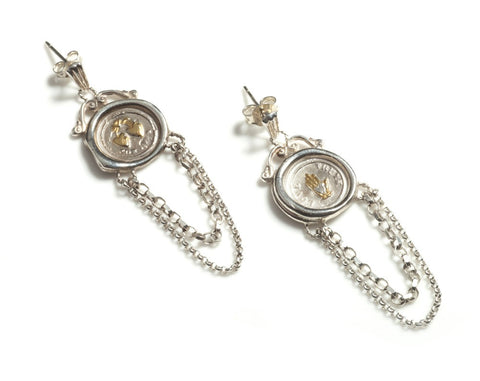 19th c. Mini Seal Chain Earrings