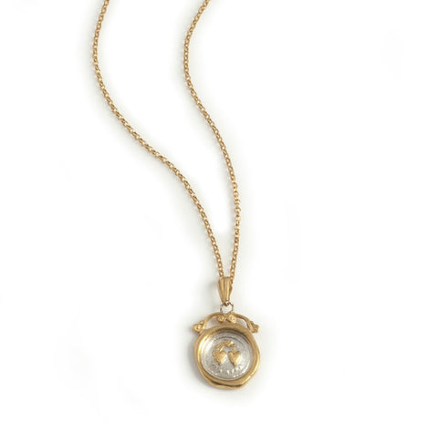 "Jessica de Lotz JdL Jewellery Across the Waters 19th century Victorian symbol wax seal jewellery 19th century mini wax seal necklace in gold plated silver with ""forever"" seal (2 hearts)"