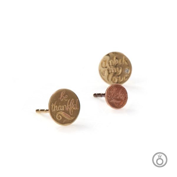 Petites Sentimental Hand Engraved Stud (Single)