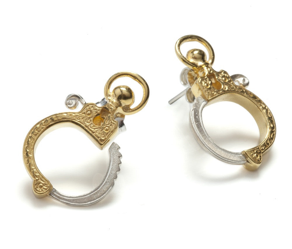 Jessica de Lotz JdL Jewellery Gladys Joyce Bowden Collection Mini Handcuff Stud Earrings with Edwardian Pistol Engraving Gold Plated Silver