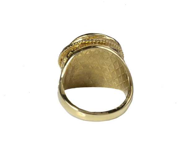 Gold Mini Moon Signet Ring with Diamonds