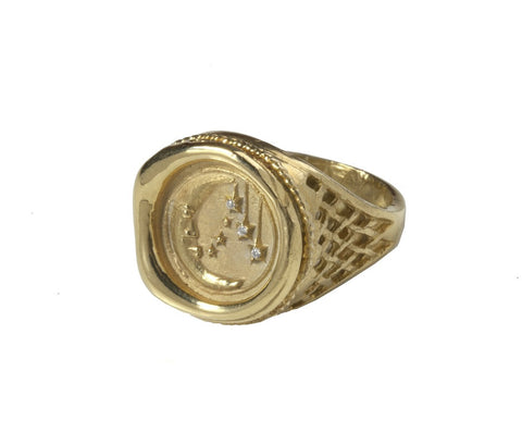 As Above, So Below Solid Gold Mini Moon Signet Ring with Diamonds