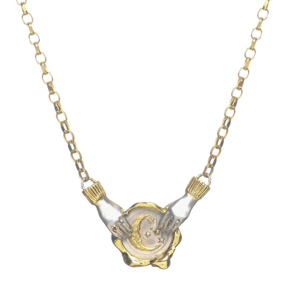 Moon Seal Necklace with Dancing Hands