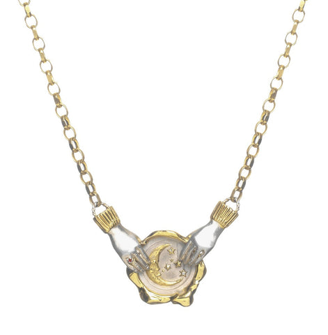As Above, So Below Moon Seal Necklace with Dancing Hands