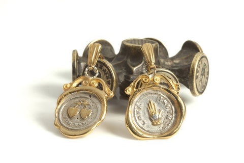 19th c. Mini Wax Seal Earrings