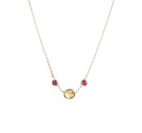 Petites Triple Wax Seal Personalised Birthstone Necklace