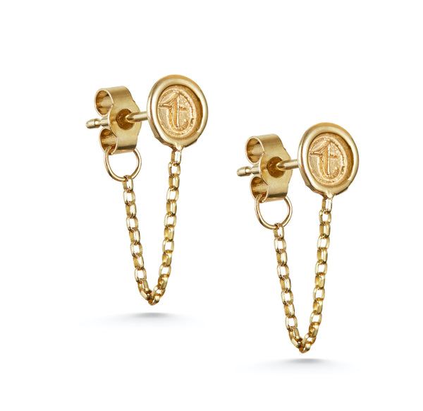 Petites Personalised Wax Seal Chain Earring (Single)