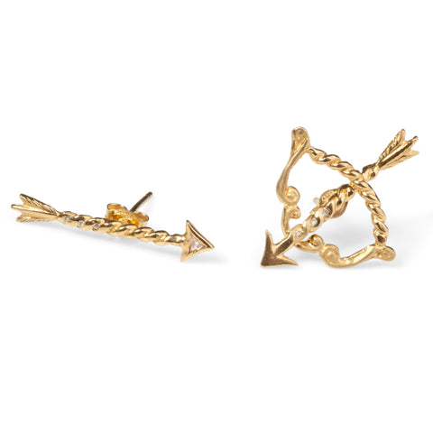 Gold Bow & Arrow Earrings with Diamonds (Pair)