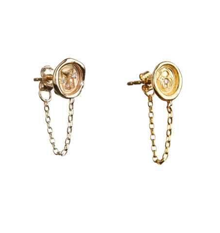 Petite Wax Seal Chain Earrings - Single Earring - Hourglass / Lock of Love / Ampersand (&) - with Diamonds