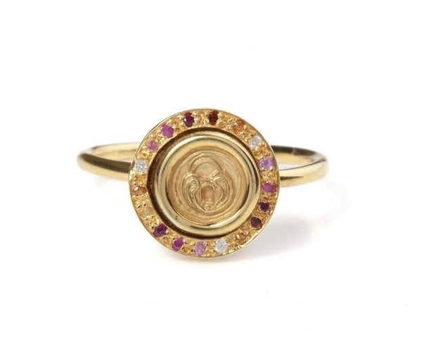 Jessica de Lotz JdL Jewellery Petites 9ct Gold Spinning Lock of Love Stacking Ring with Rubies and Diamonds
