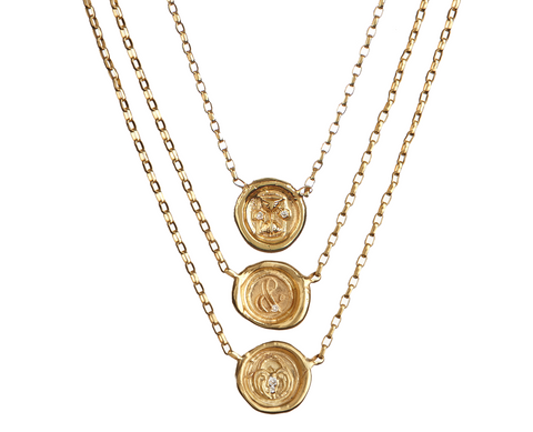 Petite Wax Seal Necklace - Hourglass / Lock of Love / Ampersand (&) - with/without Diamond