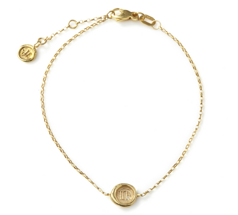 Petites Personalised (a-z/0-9) 9ct Yellow Gold Wax Seal Bracelet