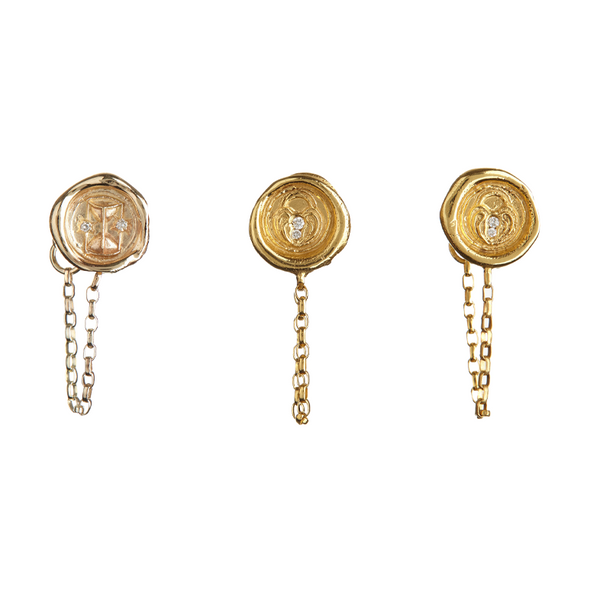 Hourglass, Lock of Love and Ampersand Wax Seal Earrings by Jessica de Lotz