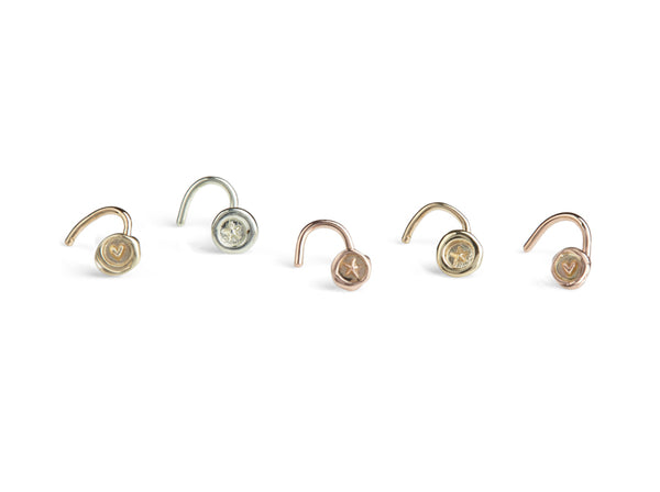 Jessica de Lotz JdL Jewellery New Teeny Weeny Petites 9ct Gold Nose Studs with Heart and Stars White Gold Yellow Gold Rose Gold