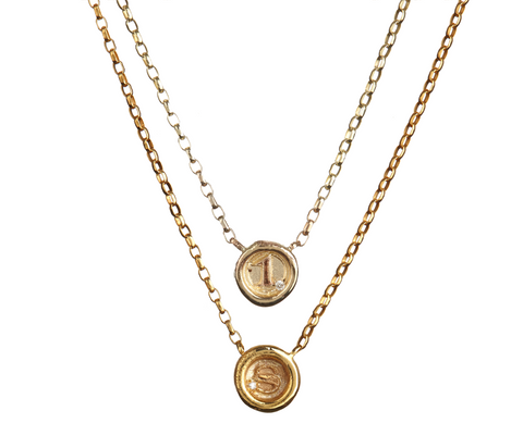 Petite Wax Seal Necklace - Personalised A-Z / 1-9 with/without Diamond