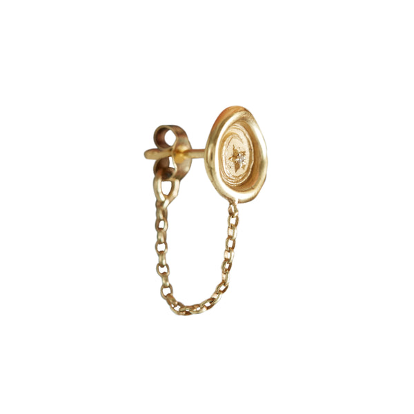 Petites Symbol Wax Seal Chain Stud Earring (Single)