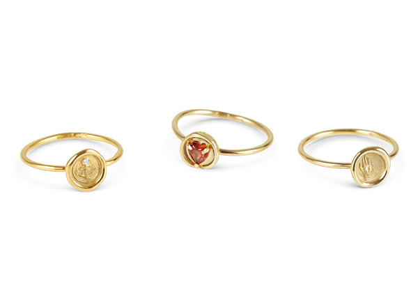 Petites Faith-Hope-Charity Wax Seal Stacking Rings