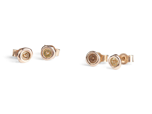 Jessica de Lotz JdL Jewellery New Teeny Weeny Petites 9ct Gold Earring Studs with Heart and Stars Rose Gold