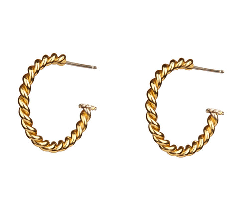 Jessica de Lotz JdL Jewellery Gladys Joyce Bowden Collection Gold Plated Silver Twisted Wire Hoops
