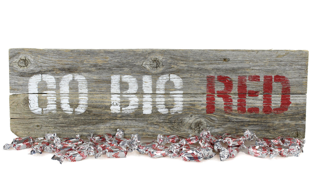 """Go Big Red"" Nebraska Barn Wood Sign & Bakers Chocolates Gift Package"