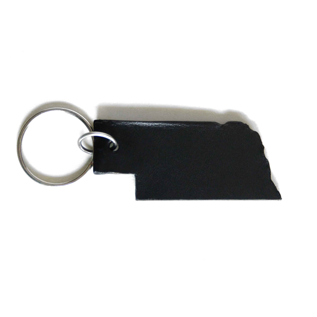 Nebraska Black Leather Keychain