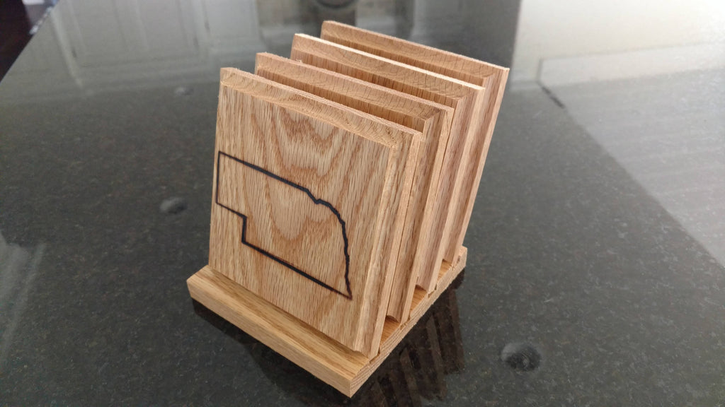 Handmade Nebraska Coaster Set