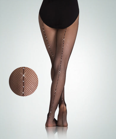 Body Wrappers Women TotalSTRETCH® Backseam Rhinestone Fishnet Tights
