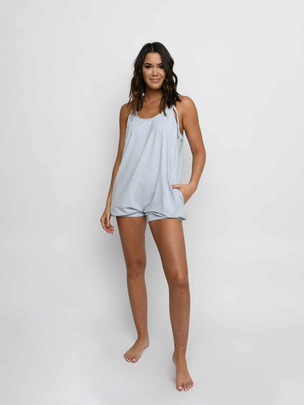 Sugar and Bruno Bubble Romper, Denim Blue