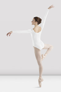 Bloch Women's White Longs Sleeve Round Neck Leotard