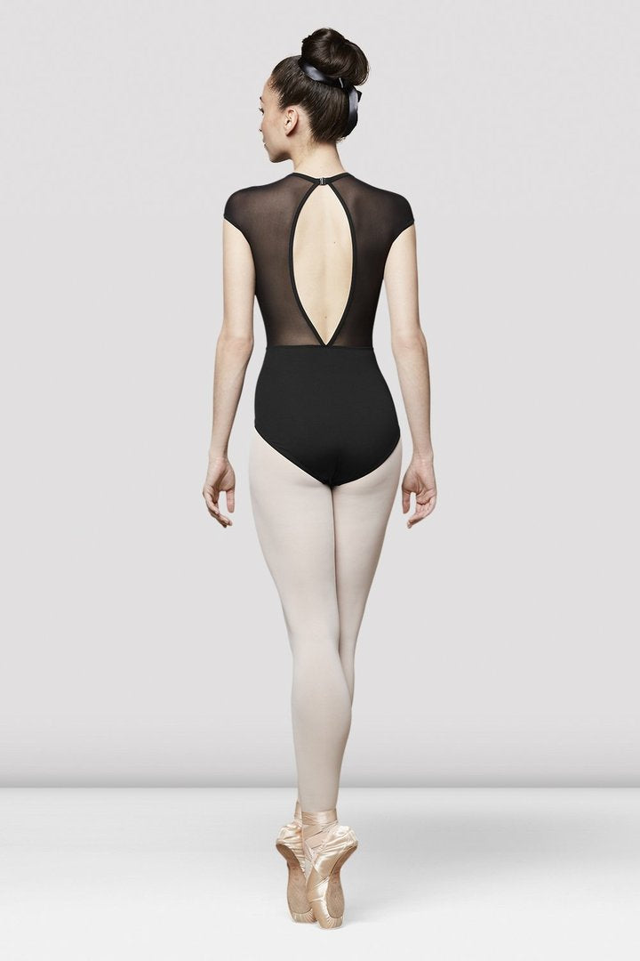 Bloch Women's Black Caia Mesh Cap Sleeve Leotard