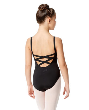 Lulli Girl's Double Crisscross Black Leotard