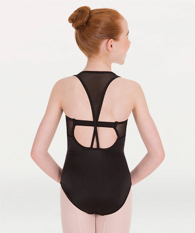 Bodywrappers Girl's Black or Steel Mesh Racerback Leotard