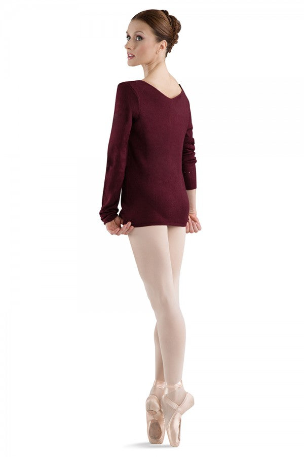 Bloch Women's Burgundy Celine V-Neck Long Sleeve Sweater