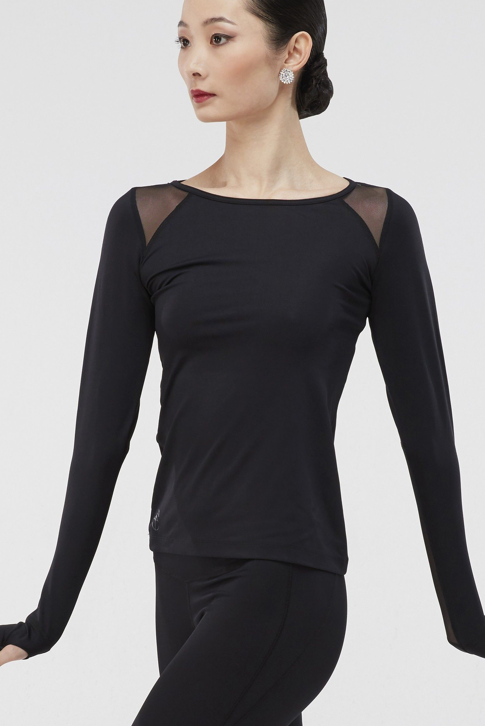 Wear Moi Women's Black Arezza Athletic Shirt with Mesh