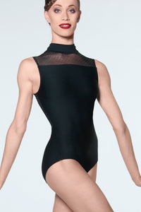 Wear Moi Women's Black Lys High Neck Leotard