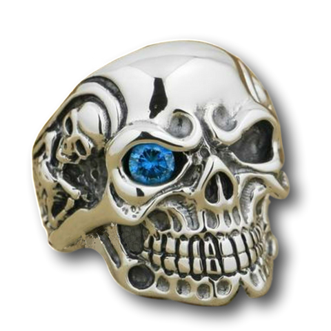 .925 Sterling Silver Blue Eye CZ Titan Skull Ring