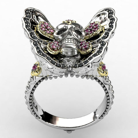 Women's Butterfly Skull Ring