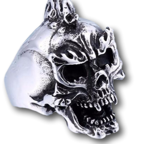 Fire Punk Skull Ring