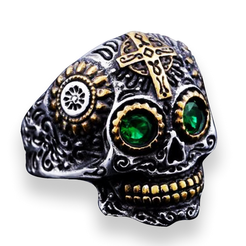 Men's Stainless Steel Gothic Carved Skull Ring