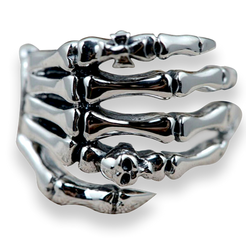 .925 Sterling Silver Skeleton Hand Ring