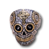 .925 Sterling Silver Cross and Sun Skull Ring