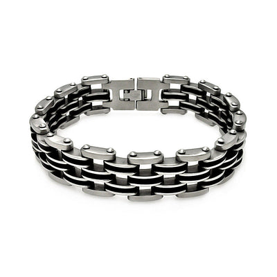 Stainless Steel Bracelet with Black Rubber Links