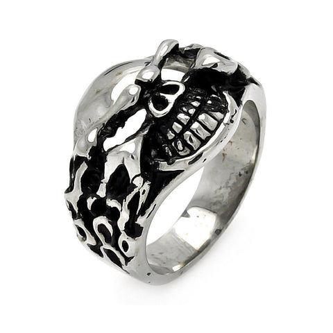 Stainless Steel Flamed Skull Head Ring