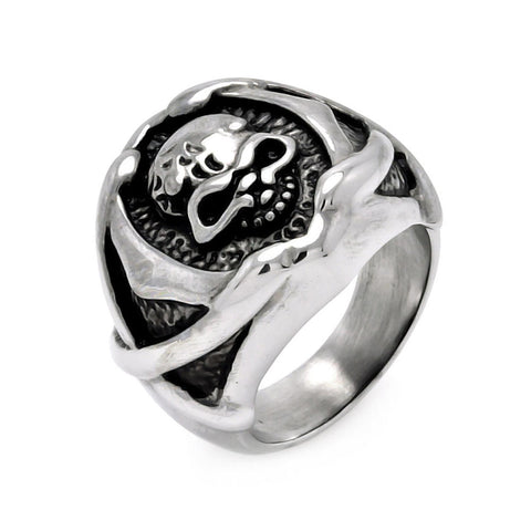 Stainless Steel Center Skull Head Ring