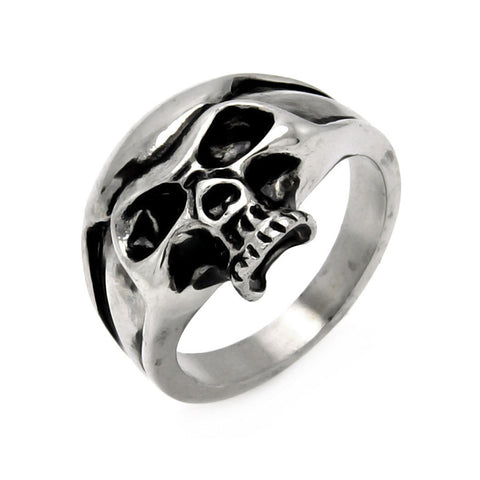 Stainless Steel Half Skull Head Ring