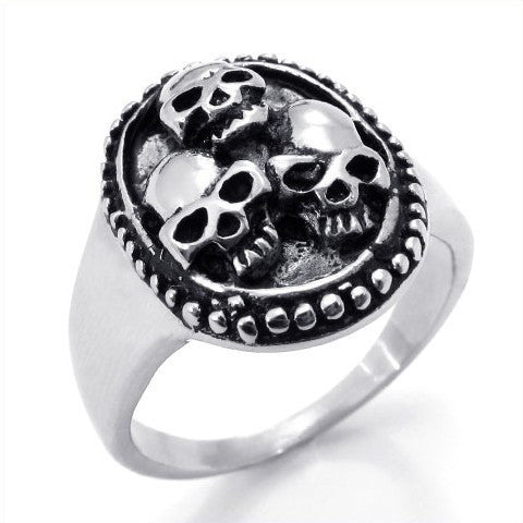 Men's Silver Titanium Steel Skull Ring